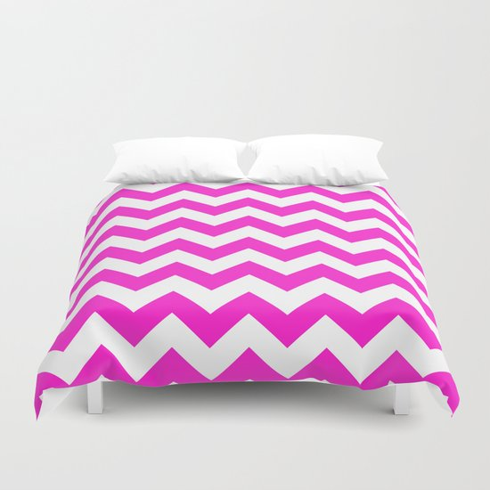 Chevron (Hot Magenta/White) Duvet Cover