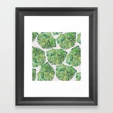 MONSTERA PUG WATERCOLOR Framed Art Print