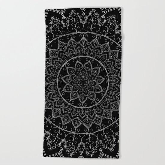 Black and White Lace Mandala Beach Towel