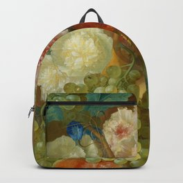 """Jan van Os """"Still life of peonies, a cock's comb and morning glories"""" Backpack"""
