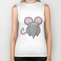 mouse Biker Tanks featuring Mouse by Rafael Martinez
