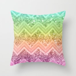 Rainbow Glitter Chevron #1 #shiny #decor #art #society6 Throw Pillow
