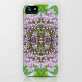 Kaleidoscope Pink Milkweed Flower Macro Photograph iPhone Case