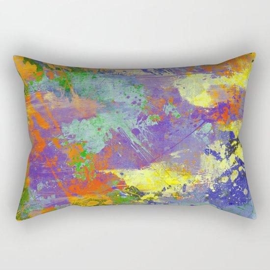 Signs Of Life - Vibrant, random paint splatter multi coloured abstract Rectangular Pillow