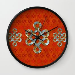 Decorative Marble and Gold Endless Knot symbol Wall Clock