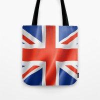 british flag Tote Bags featuring UK / British waving flag by GoodGoods