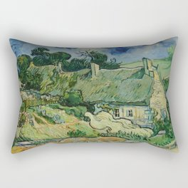 "Vincent van Gogh ""Thatched Cottages at Cordeville"" Rectangular Pillow"