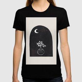 Minimalist Modern Mid Century Black Ink Line Drawing Moon Plant Fantasy by Ejaaz Haniff T-shirt