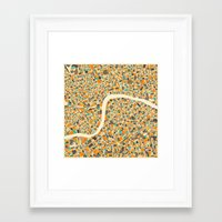 london Framed Art Prints featuring LONDON MAP by Jazzberry Blue