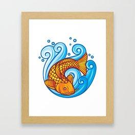 koi carp fish in the sea waves (japanese or chinese inspired design) Framed Art Print
