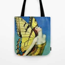 The Golden Butterfly Art Deco female goddess painting by W.T. Benda Tote Bag