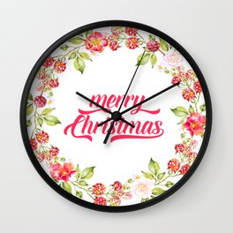 Merry Christmas Modern Typography Christmas Berries Wreath Wall Clock