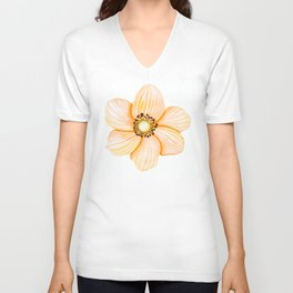 One Orange Flower Unisex V-Neck