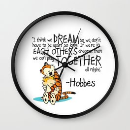 Calvin and Hobbes Dreams Quote Wall Clock