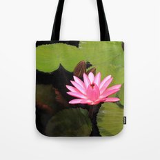 pink lily pad flower Tote Bag