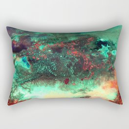 """""""Titan"""" Mixed media on canvas, abstract painting design, contemporary artist green red black yellow Rectangular Pillow"""
