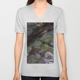 Algae Covered Natural Coastal Rock Texture Unisex V-Neck