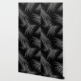 Silver Gray Black Palm Leaves Dream #1 #tropical #decor #art #society6 Wallpaper