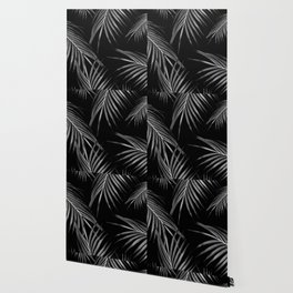 Silver Gray Black Palm Leaves Dream #1 #tropical #decor #art #society6 Wallpaper