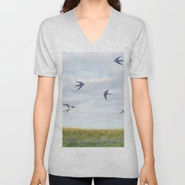 barn swallows, day lilies, and chicory Unisex V-Neck