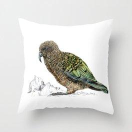 Mr Kea, New Zealand parrot Throw Pillow