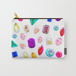 Rhinestone Reverie in White Carry-All Pouch