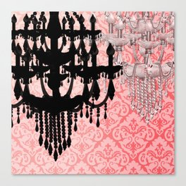 Glamorous Chandelier & Silhouette Damask Backdrop Canvas Print