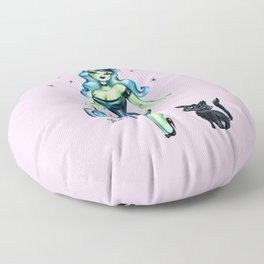 Pinup Witch With Fuzzy Black Cat Floor Pillow