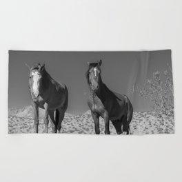 Wild_Horses B & W 3501 - Nevada Beach Towel