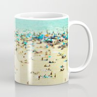 blur Mugs featuring Coney Island Beach by Mina Teslaru