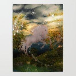 Einhorn im Wald Poster