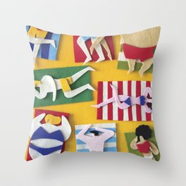 Public Beach Throw Pillow