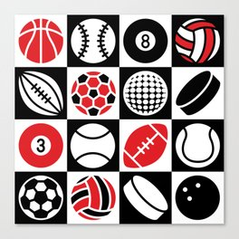 Sport Ball Checkerboard Canvas Print
