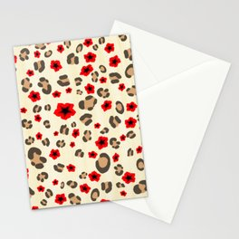 Romantic Leopard Print Pattern with Red Flowers Stationery Cards