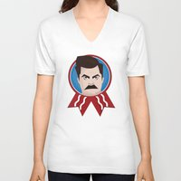 swanson V-neck T-shirts featuring Ron Swanson by creative.court