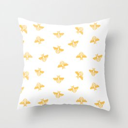 Bee pattern in gold yellow Throw Pillow