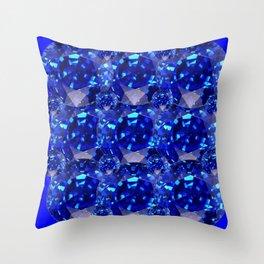 BLUE SAPPHIRES GEM BIRTHSTONE Throw Pillow