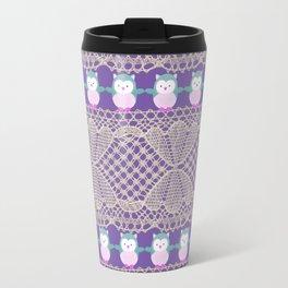 Vintage ivory purple floral lace cute funny owls Travel Mug