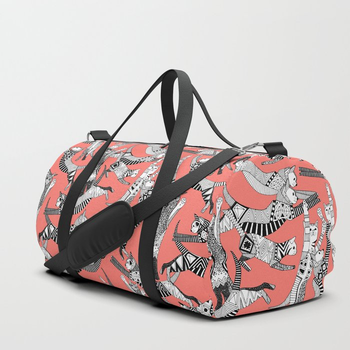 cat party blush coral Duffle Bag