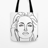 angelina jolie Tote Bags featuring Angelina Jolie by weisart