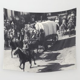 Vintage Houston Rodeo Parade Cowboys and Wagons Wall Tapestry