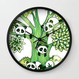 Green Panda Tree Wall Clock
