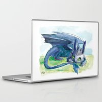 how to train your dragon Laptop & iPad Skins featuring How to Train Your Dragon - Toothless by PinStripes Studios