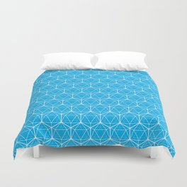 Icosahedron Pattern Bright Blue Duvet Cover
