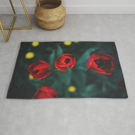 Red roses yellow Rug