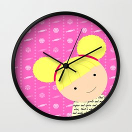 Pink Sugar and Spice Little Blonde Girl Illustration Wall Clock