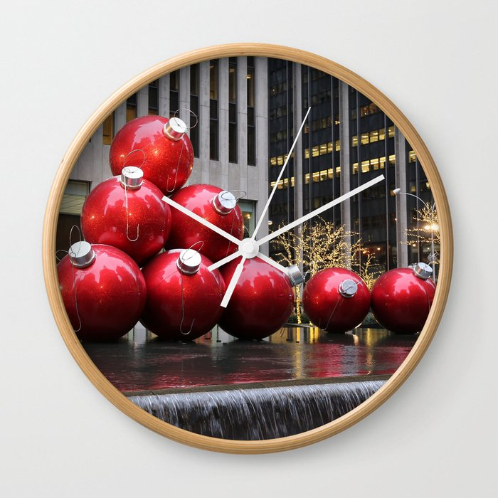 Christmas Ball Ornaments.Huge Christmas Ball Ornaments In Nyc Wall Clock By Stine1