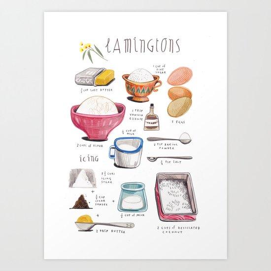 illustrated recipes: lamingtons Art Print