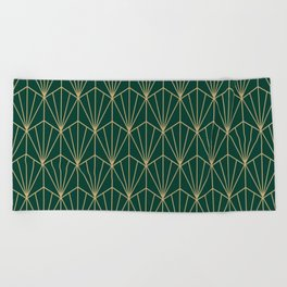 Art Deco Vector in Green and Gold Beach Towel