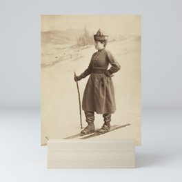 Vintage Skiing Photo of Eva Nansen Mini Art Print